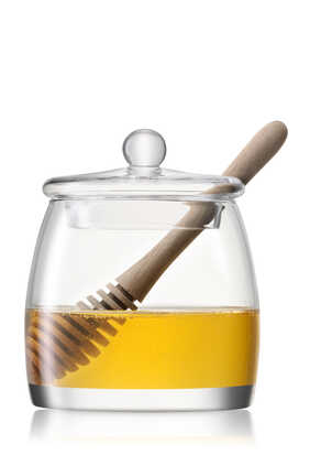 Serve Honey Pot and Oak Dipper