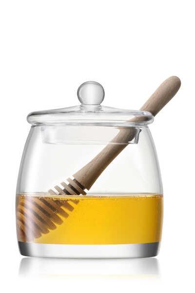 Serve Honey Pot and Oak Dipper