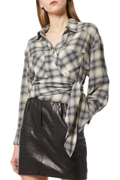 Camde Checked Cotton-Flannel Wrap Shirt