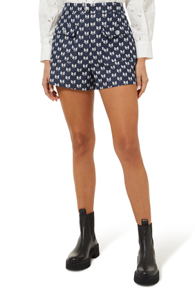 Jacquard Shorts With Bow Pattern