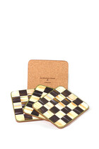 Courtly Check Cork Back Coasters, Set of 4