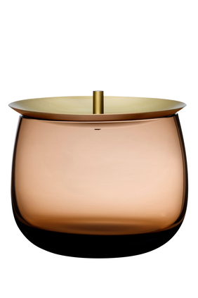 "DJ Nude Bowl Vessel w/ Lid Caramel H4.21"":Light/Pastel Brown:One Size"