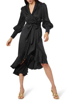Silk Wrap Midi Dress