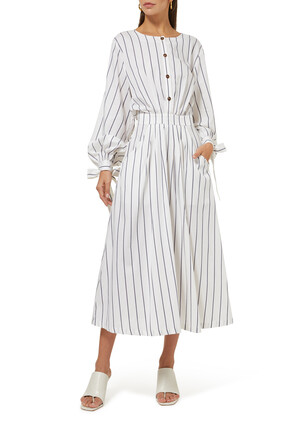 Stripe Tie-Sleeve Dress