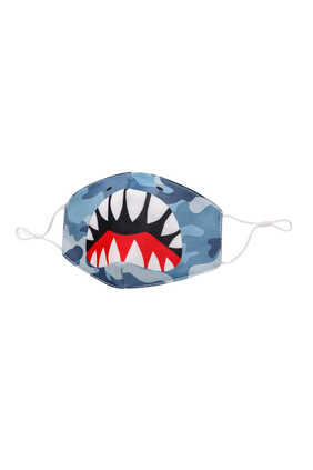 Shark Face Camo Print Face Mask