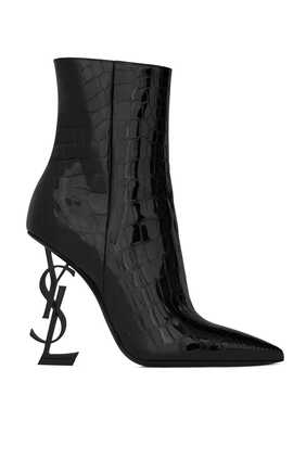 Opyum Ankle Boots In Alligator-Embossed Patent Leather With Black Heel