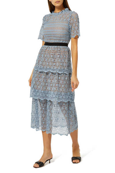 Tiered Steel Lace Dress