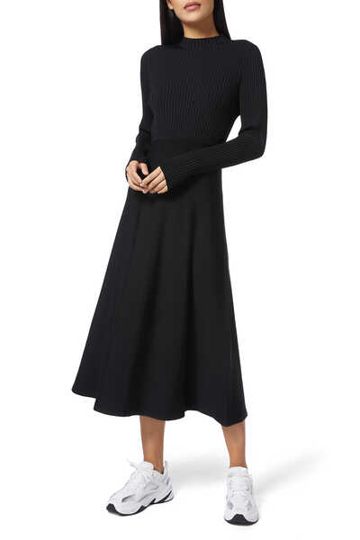 Compact Ribbed Midi Dress