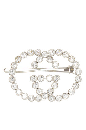 Crystal Interlocking G Hair Clip