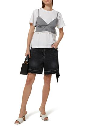 Drape Detail Denim Shorts