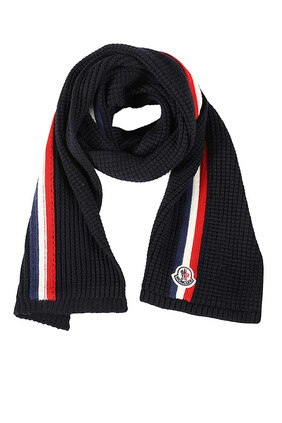 Logo Patch Tri-Color Wool Scarf