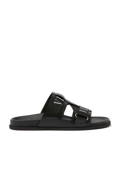 Valentino Garavani VLTN Leather and Rubber Slides
