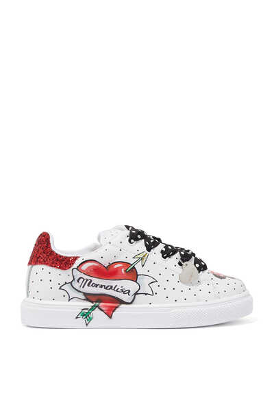Polka-dot leather sneakers