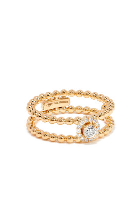 Rock Circle Double-Strand Ring in 18kt Yellow Gold