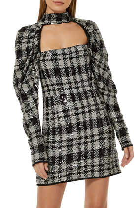 Kaya Checkered Sequin Dress