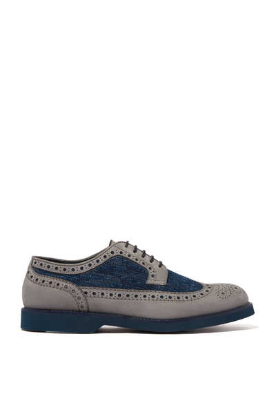 Porte Suede And Denim Brogues