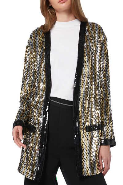 Sequin Embellished Crewneck Jacket