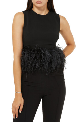 Dickinson Feather-Trimmed Crepe Top