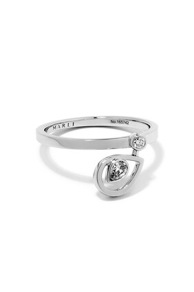 Rock Blossom Drop Charm Pear Diamond Ring in 18kt White Gold
