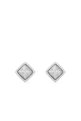 Cleo Diamond Pyramid Stud Earrings in 18kt White Gold