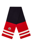 Tricolor Scarf With Logo Patch