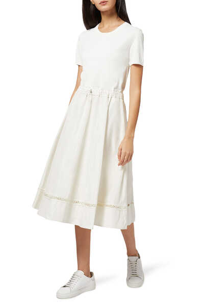 Knit And Taffeta Dress