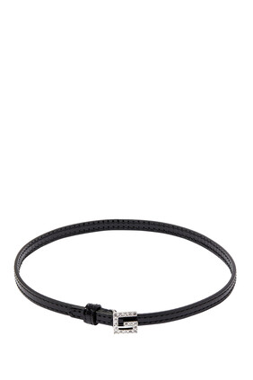 Square G Leather Choker