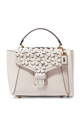 Courier Floral Appliqué Leather Bag