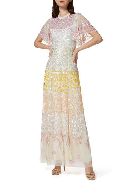 Chakra Sequin Short Sleeve Gown