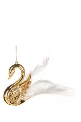 Feather Swirl Swan Ornament