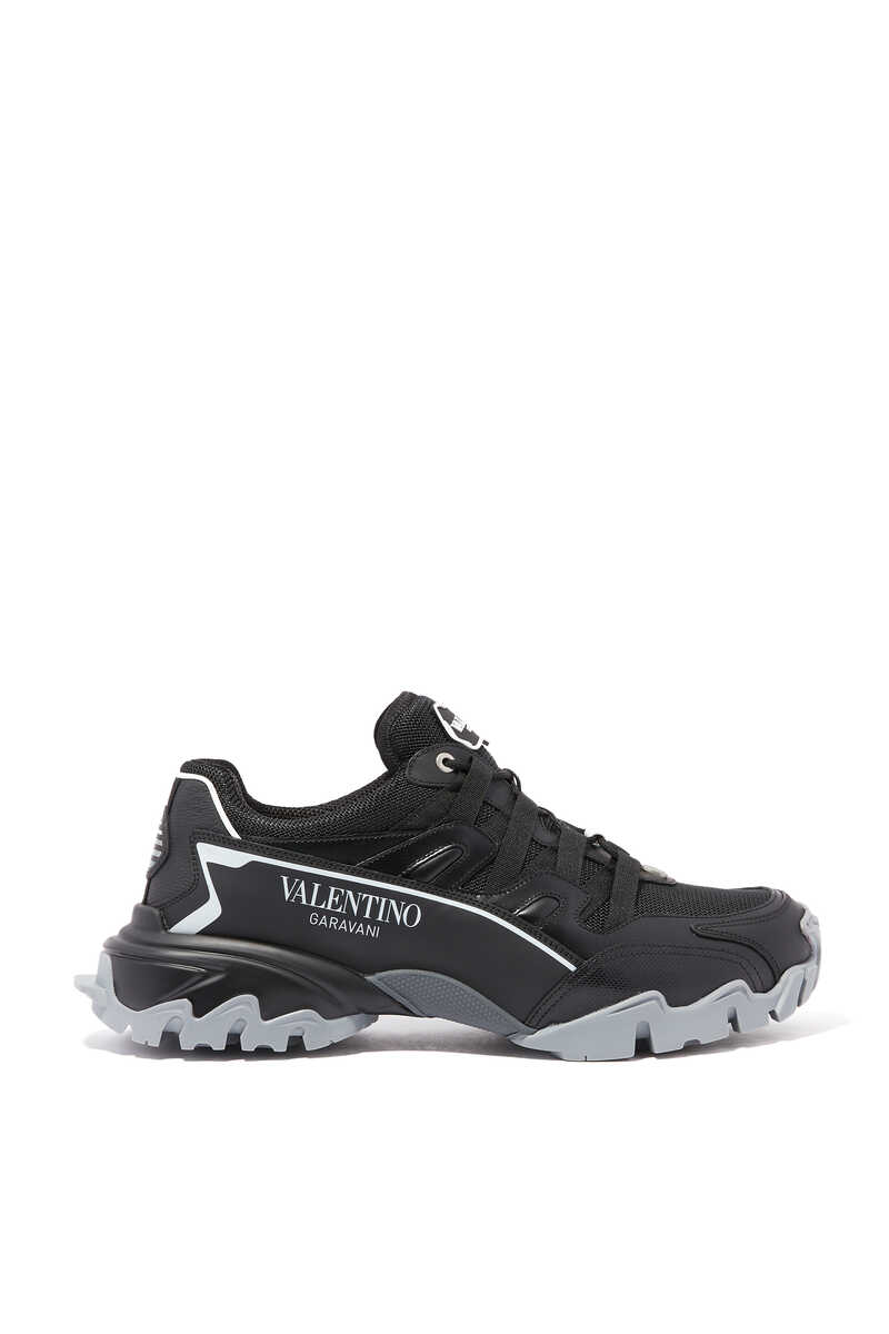 Valentino Garavani Leather and Knit Climbers Sneakers image number 1