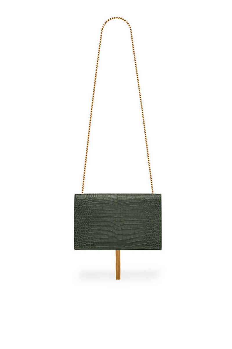 Kate Medium Tassel Chain Bag in Crocodile-Embossed Shiny Leather image thumbnail number 2