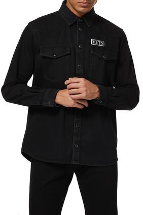 Denim shirt with VLTN TAG
