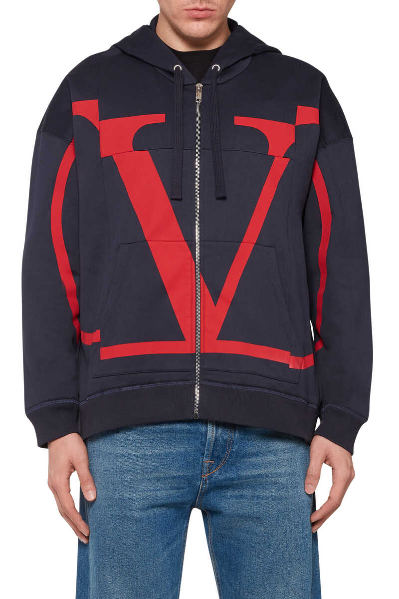 V-Logo Zip-Front Hooded Sweatshirt image number 5