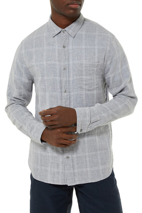 Double Face Windowpane Long Sleeve Shirt