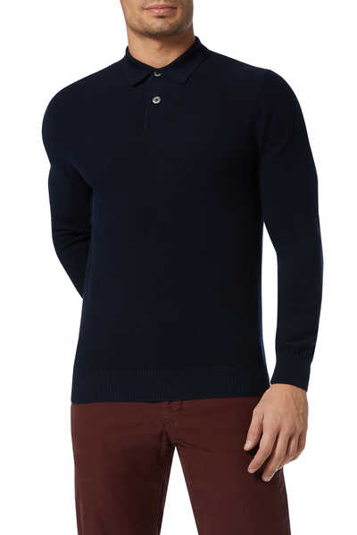 Textured Wool Knit Polo