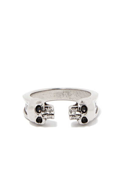 Thin Twin Skull Ring