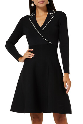 Knit Dress With Tailored Collar
