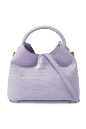 Baozi Croc-Embossed Leather Bag