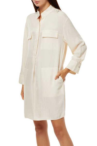 Utility Silk Shirt Dress