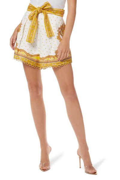 Bells Paisley Linen Tuck Shorts