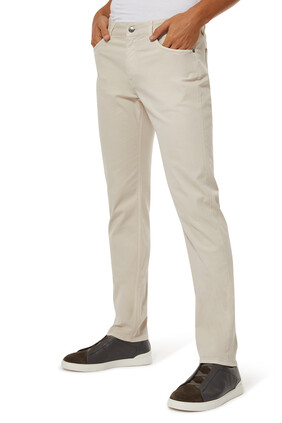 Stretch Cotton And Lyocell Denim Pants