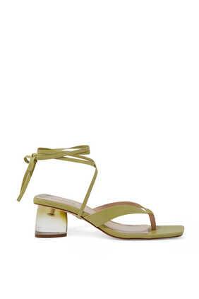 Acrylic Heel Leather Sandals