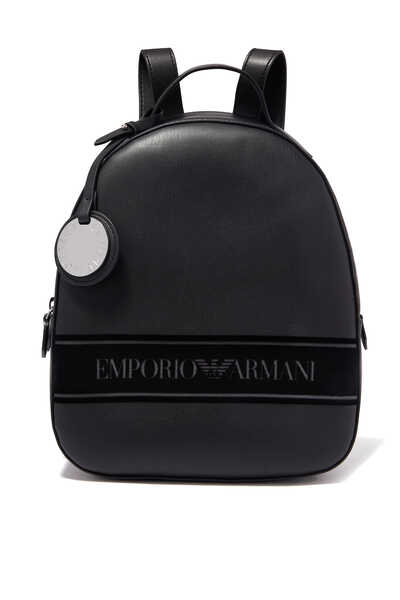 Flocked Logo Leatherette Backpack