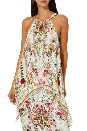 Floral Drawstring  Neck Top
