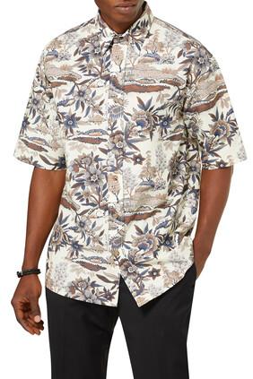 Short Sleeves Floral Print Shirt