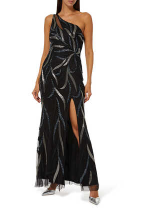 Sequined Asymmetrical Gown