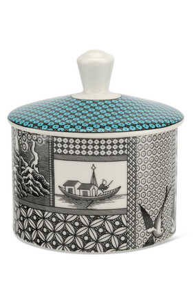 Spode Patchwork Willow Teal Sugar Box