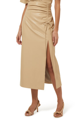 Malorie Ruched Vegan Leather Skirt