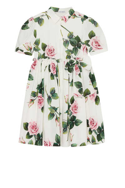 Poplin Casual Tropical Rose Dress